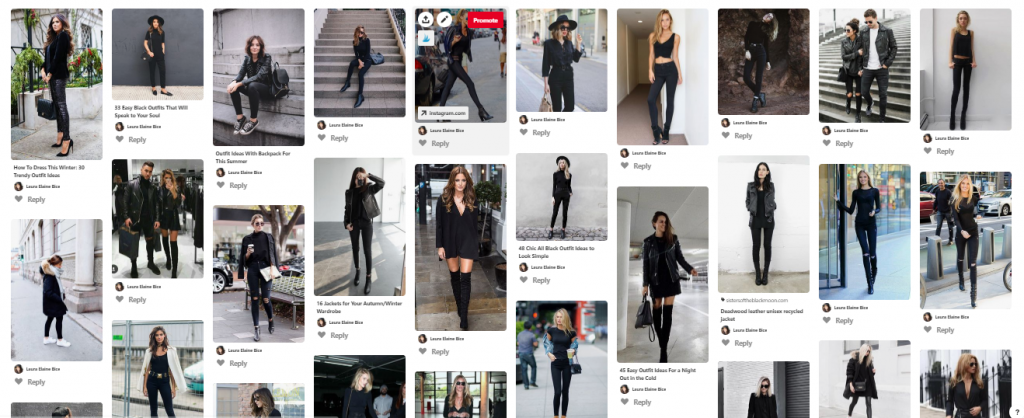 What We Want Wednesday All In Black Pinterest Board Screenshot