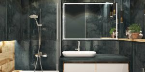 modern bathroom black walls white wood accents